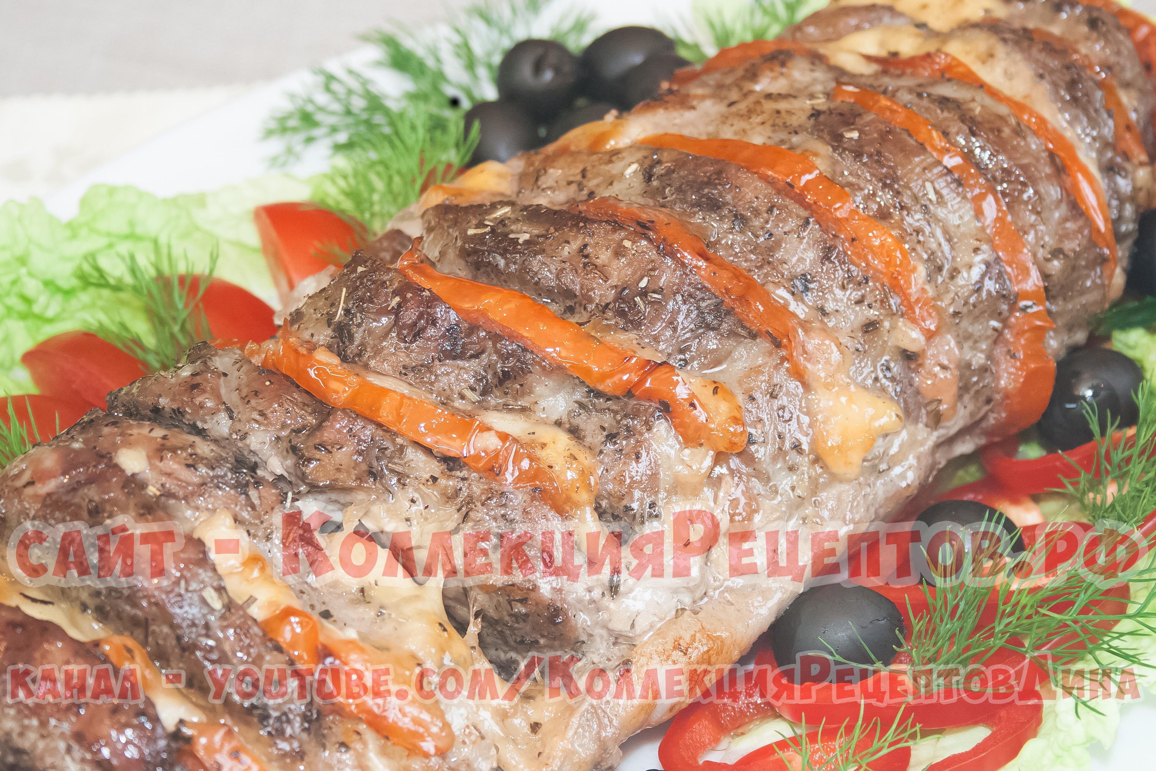 Запеченная свинина с помидорами и сыром в духовке рецепт