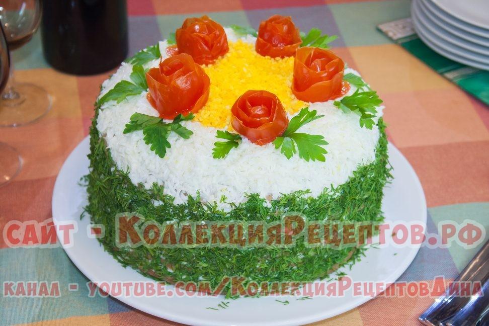 Вкусный печёночный торт Закусочный с луком, морковью и грибами