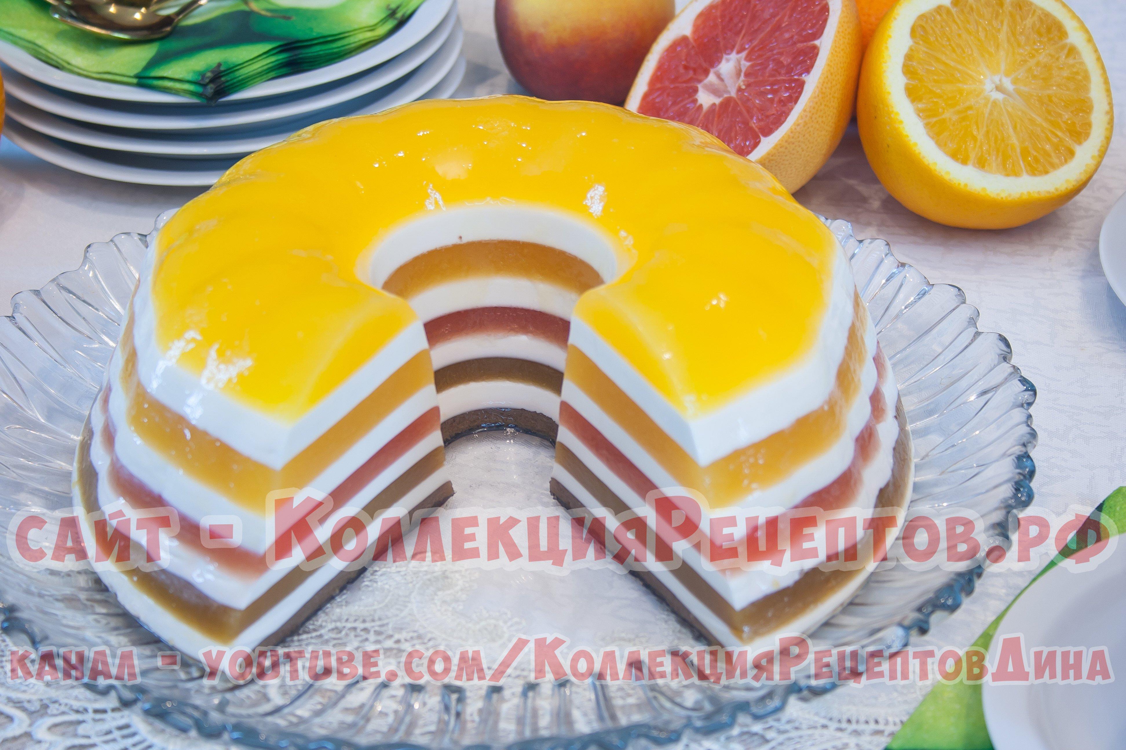 Желейный торт с фруктами с пошаговым фото