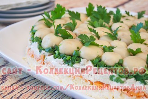 рецепт салата грибная поляна с курицей