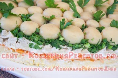 салат грибная поляна рецепт с шампиньонами фото