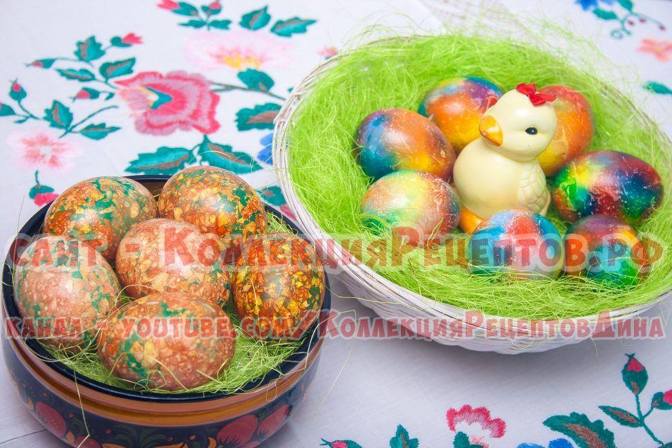 мраморные яйца на пасху с зеленкой